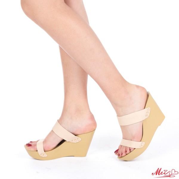 Papuci Dama cu Platforma HL201 Beige Mei