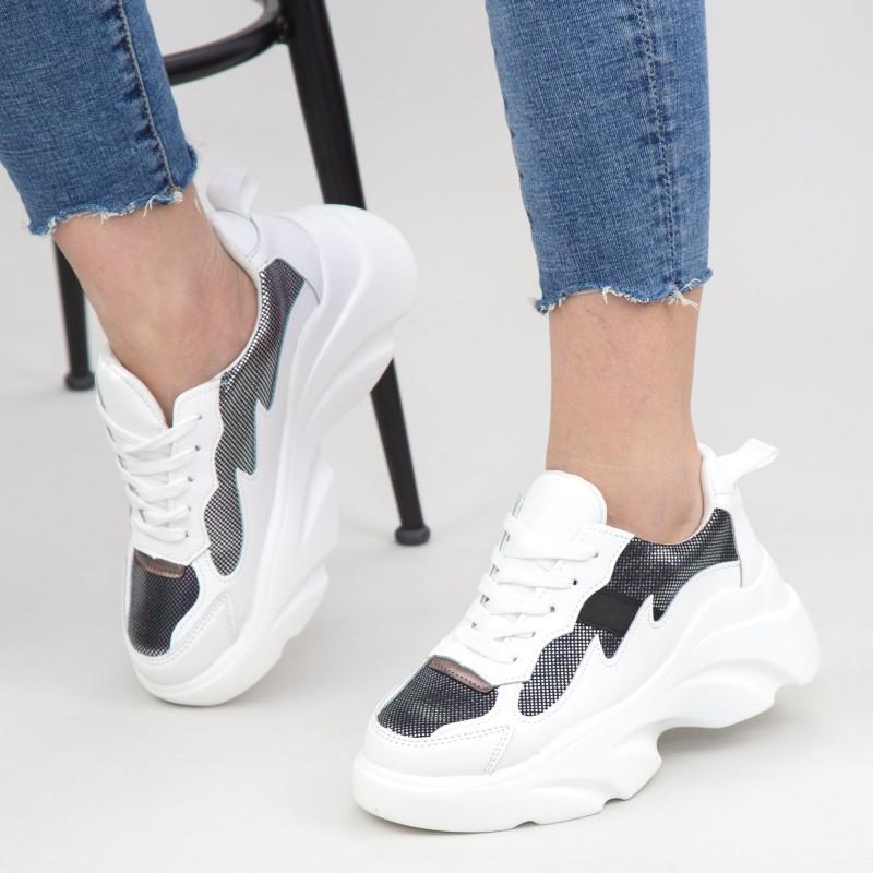 Pantofi Sport Dama cu Platforma 193 White Mei