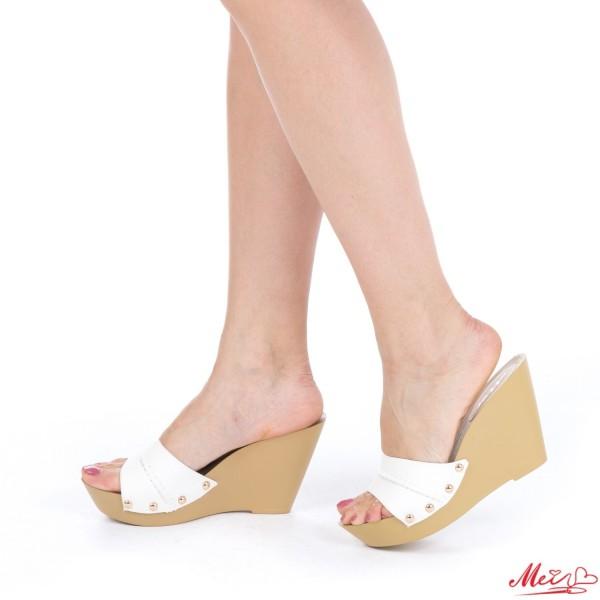 Papuci Dama cu Platforma HL206 White Mei