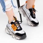 Pantofi Sport Dama cu Platforma SZ260 Black-Orange Mei