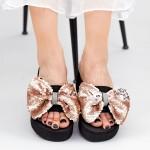 Papuci cu Platforma Dama TG2 Beige Mei