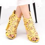 Sandale Dama cu Toc KV9 Yellow Mei