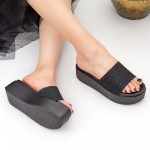 Papuci Dama cu Platforma TG11 Black Mei