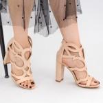 Sandale Dama cu Toc gros KV38 Beige Mei