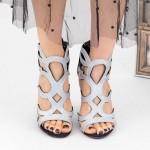 Sandale Dama cu Toc gros KV38A Silver Mei