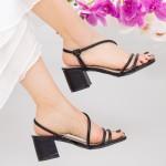 Sandale Dama cu Toc gros YBS77 Black Mei