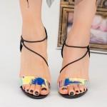 Sandale Dama cu Toc gros XKK226 Black Mei
