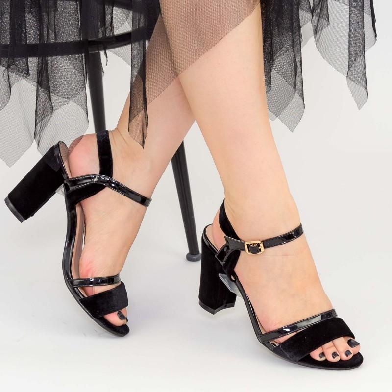 Sandale Dama cu Toc WT185 Black Mei