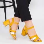 Sandale Dama cu Toc gros CS78 Yellow Mei