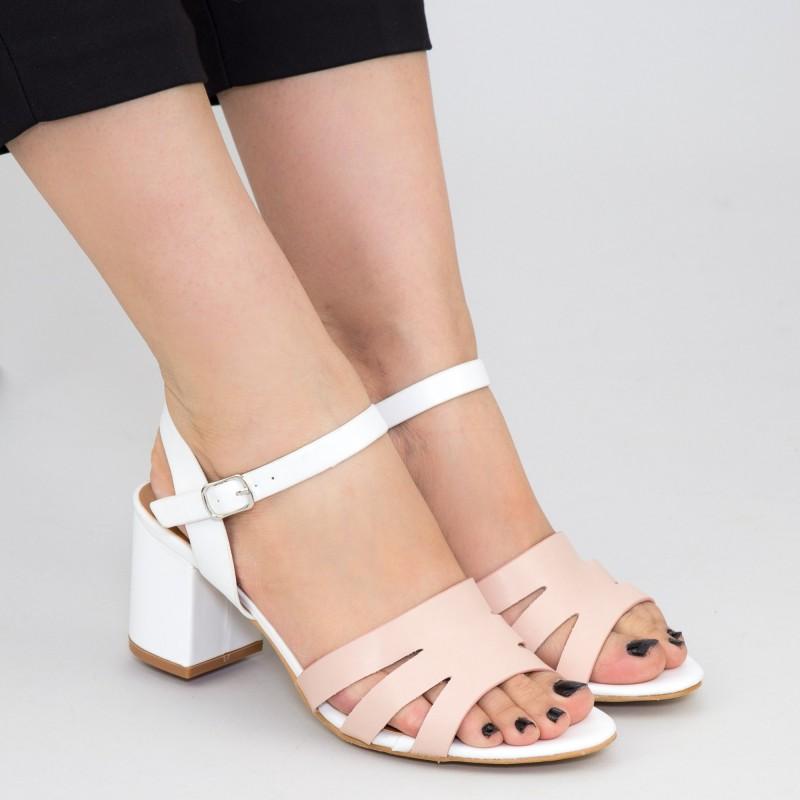 Sandale Dama cu Toc gros CS79 White Mei