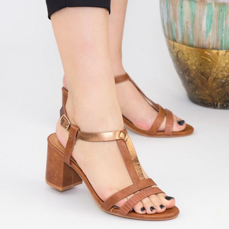 Sandale Dama cu Toc gros CS80 Brown Mei