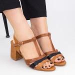 Sandale Dama cu Toc gros CS82 Brown Mei