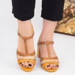 Sandale Dama cu Toc gros CS82 Yellow Mei
