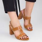 Sandale Dama cu Toc gros CS85 Brown Mei