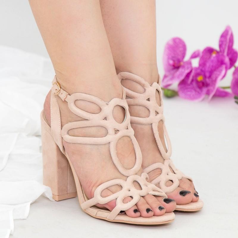 Sandale cu Toc XKK158 Beige Mei