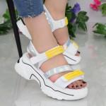 Sandale Dama cu Platforma NX95 White-Yellow Mei