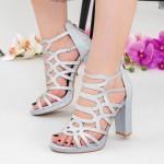 Sandale Dama cu Toc gros XKK215 Silver Mei