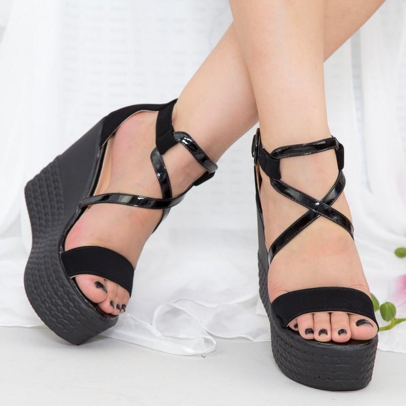 Sandale Dama cu Toc gros si Platforma LM252 Black Mei