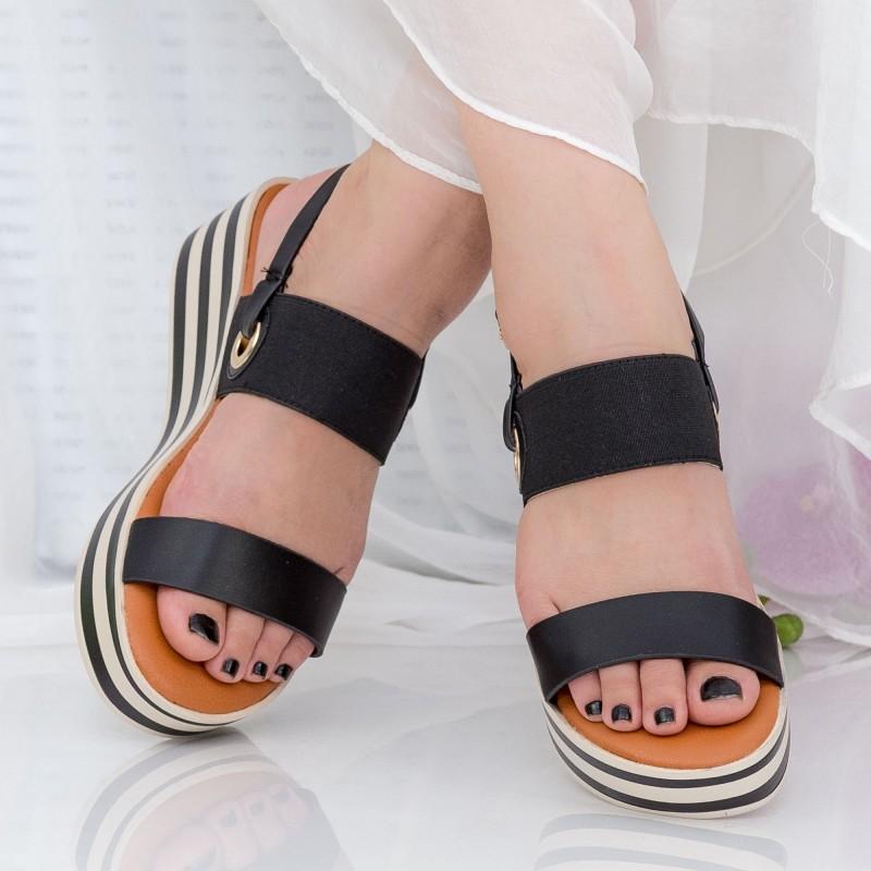 Sandale Dama cu Platforma QZL253 Black Mei