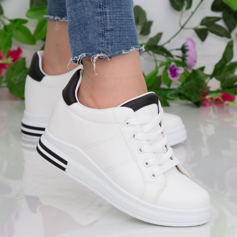 Pantofi Sport Dama cu Platforma YKQ196 White-Black Mei