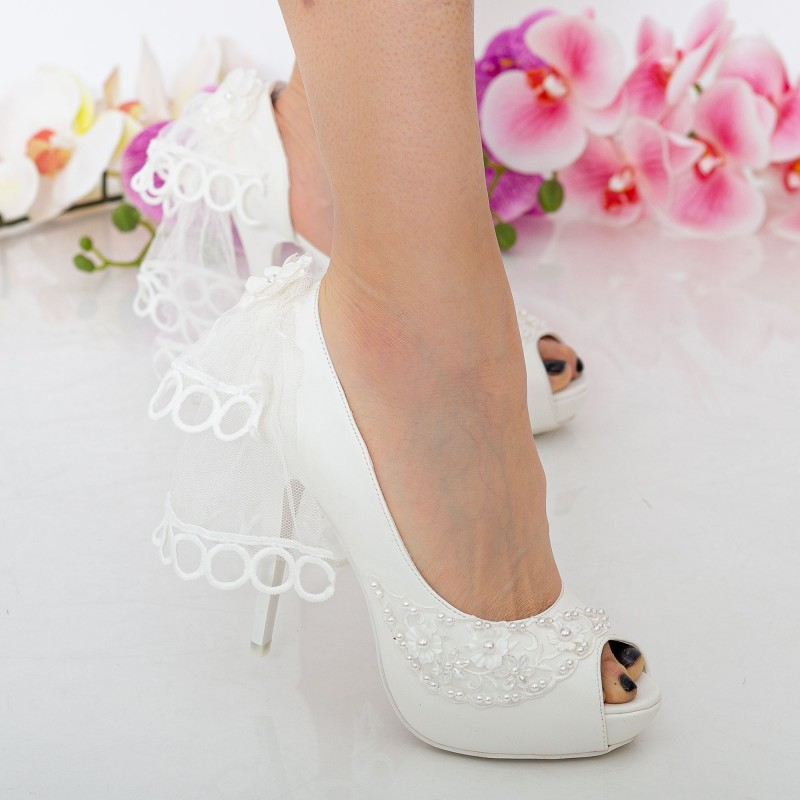 Sandale Dama cu Toc subtire S10 White Mei