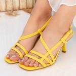 Sandale Dama cu Toc subtire GH1951 Yellow Mei
