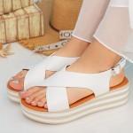 Sandale Dama cu Platforma QZL252 White Mei