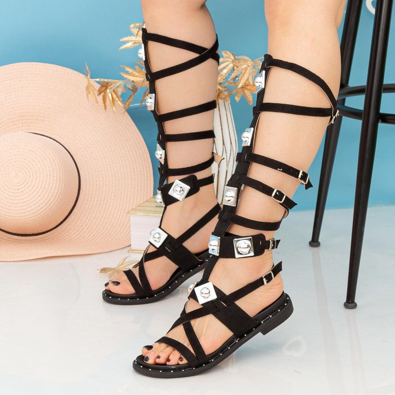 Sandale Dama Gladiator QZL252X Black Mei