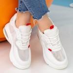 Pantofi Sport cu Platforma Dama QQ22 White Mei