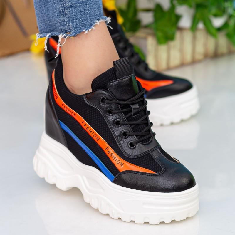 Pantofi Sport cu Platforma Dama SJN260 Black Mei