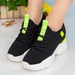 Pantofi Sport cu Platforma Dama CJL6 Black-Green Mei