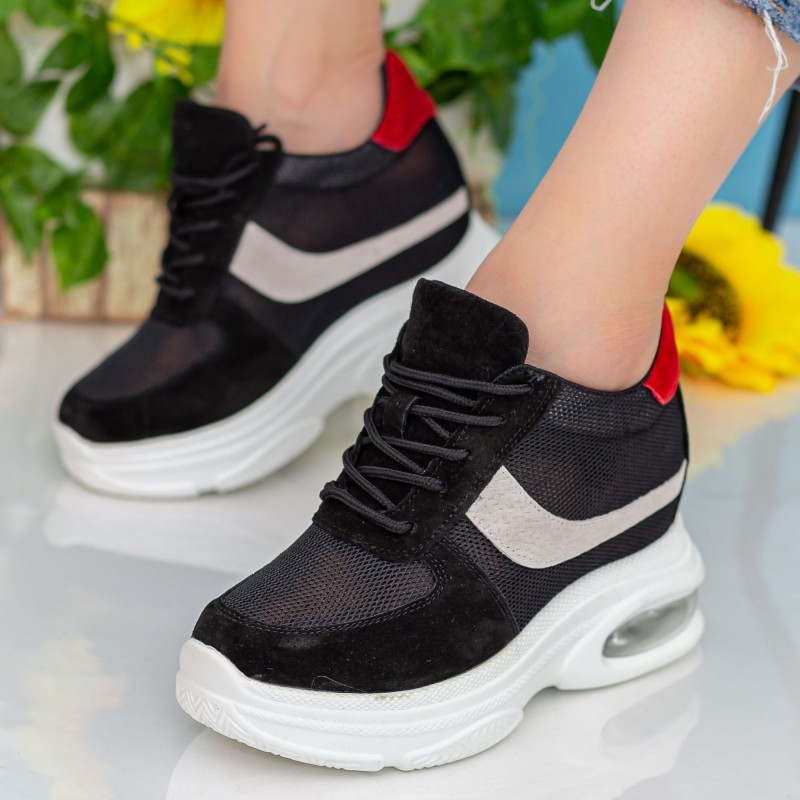 Pantofi Sport cu Platforma Dama QQ23 Black Mei