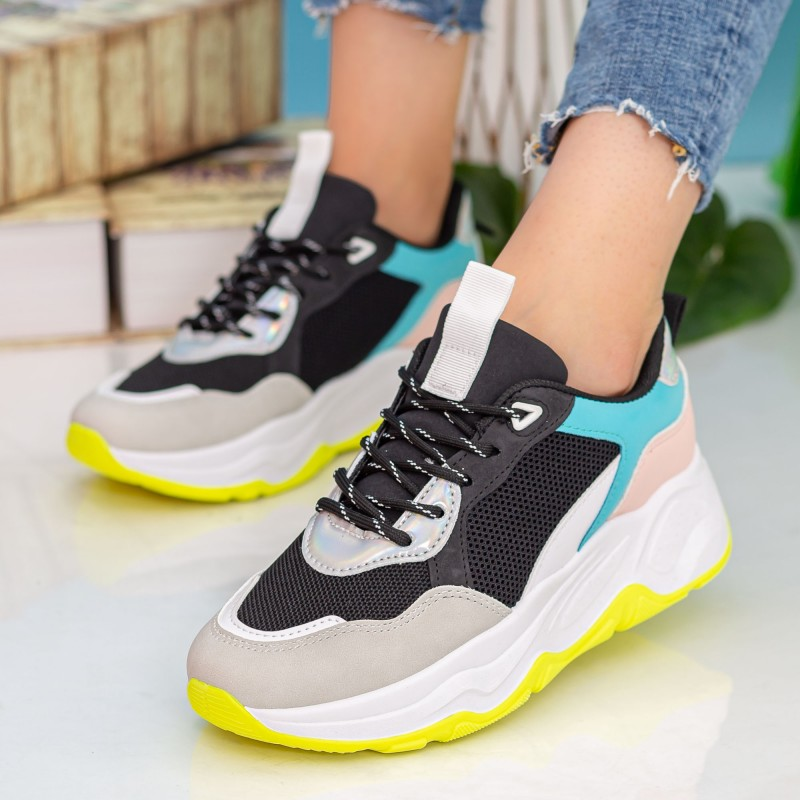 Pantofi Sport Dama cu Platforma 23-51 Black Se7en