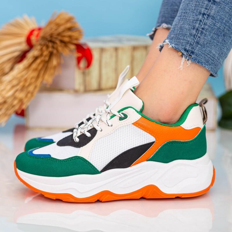 Pantofi Sport Dama cu Platforma 23-51 White-Green Se7en