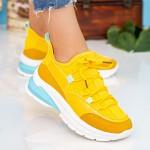 Pantofi Sport Dama cu Platforma X2905 Yellow Se7en