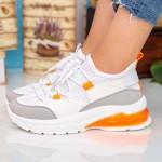 Pantofi Sport Dama cu Platforma X2905 White-Orange Se7en