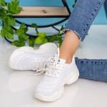 Pantofi Sport Dama cu Platforma 19-6 White Mei