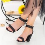 Sandale Dama cu Toc gros XKK161B Black Mei