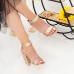Sandale Dama cu Toc gros XKK161B Champagne Mei
