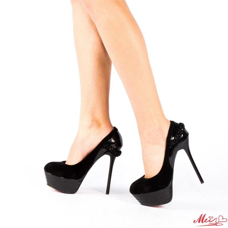 Pantofi cu Toc si Platforma J628-11 Black Mei