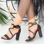 Sandale Dama cu Toc gros XKK160B Black Mei