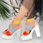 Sandale Dama cu Toc gros si Platforma XKK202 Orange Mei