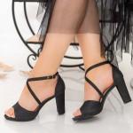 Sandale Dama cu Toc gros XD237TA Black Mei