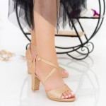 Sandale Dama cu Toc gros XD237TA Champagne Mei