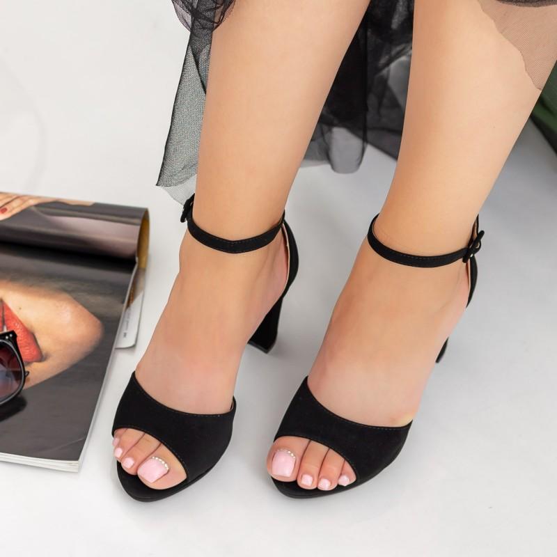 Sandale Dama cu Toc gros XD238T Black Mei