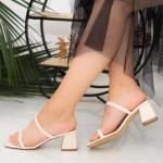 Sandale Dama cu Toc gros GH1952 Beige Mei