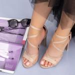 Sandale Dama cu Toc gros XKK89H Champagne Mei