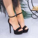 Sandale Dama cu Toc subtire si Platforma XKK171 Black Mei