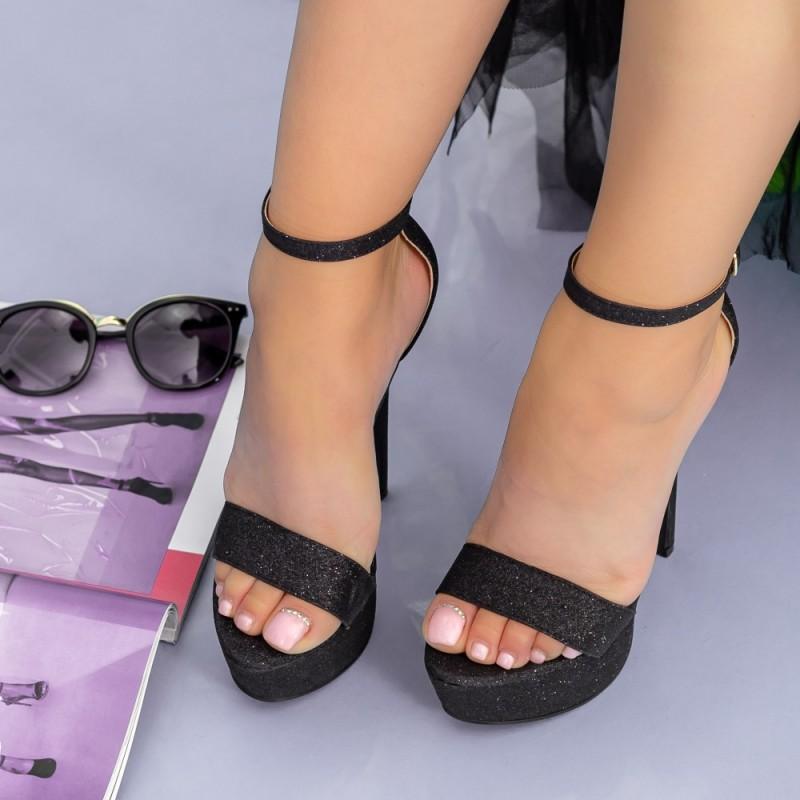 Sandale Dama cu Toc subtire si Platforma XKK171A Black Mei