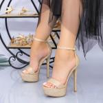 Sandale Dama cu Toc subtire si Platforma XKK171A Champagne Mei
